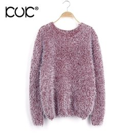 Wholesale Mohair Knitwear - Kuk 8 Color Sweater Women Pullover Feminino Pull Femme 2017 Mohair Pink Gray Green Ladies Knitwear Jumpers Autumn Winter A518