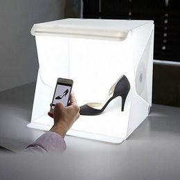 "Wholesale Photo Tent Box - 24cm   9"" mini Folding Lightbox Photography Studio Softbox LED Light Soft Box Camera Photo Background Box Lighting Tent Kit"