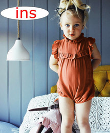 Wholesale clothing wholesalers america - Baby Solid Color Rompers Cotton Summer 2018 Kids Boutique Clothing Euro America INS Hot Sale Infant Toddlers Ruffle Sleeves Rompers