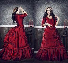 gothic plus prom kleider Rabatt Gothic viktorianischen Vintage Prom Kleider 2019 plus Größe Cosplay Kostüme Halbarm Promi drapiert Burgunder Red Ball Gown Abendkleid