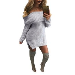 Off ombro mangas vestido camisola on-line-Womail Mulheres Casual Manga Comprida Solta Malha Jumper Fora do Ombro Blusas Vestido Outwear 2018 L30802