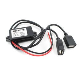 Agujero de montaje usb online-1 unids Nuevo Dual 2 USB DC-DC Cable Convertidor de Coche Cable con orificio de montaje DC 12V A USB Ouput 5V 3A 15W Adaptador de corriente