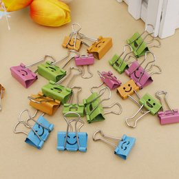 Wholesale book supplies - 40PCS Common Smile Cute Binder Clips For Home Office Books File Paper Organizer Office Supplies 19mm(w) WinContig
