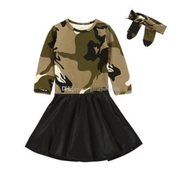 Wholesale fashion boutique color line - 2018 new baby Camouflage dress cotton PU Princess dresses with headbands fashion Kids Clothing Boutique girls Ball Gown C3393