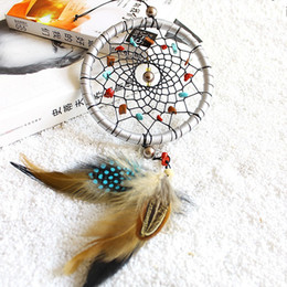 Wholesale Indian Style Decor - Feathers Core Bead Dreamcatcher Wall Hanging Indian Style Natural Stone Dream Catcher Pendant Home Decor 8 5xr C