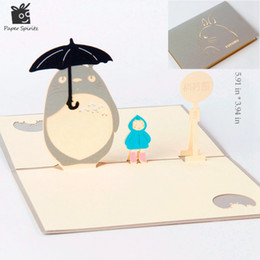 Wholesale Laser Cut Cards Holiday - Anime Totoro 3D laser cut pop up paper Holiday handmade Happy Birthday postcards custom Xmas greeting cards Gifts 5024G