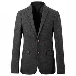 Wholesale Korean Mens Wool Coat - Korean Style Slim Fit Suit Classic Gray Male Jacket Coat Two Buckle Wool Blend Blazers Mens Formal Wear Designer Prom Suits