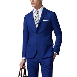 Куртка из королевской коровы онлайн-Fashion High Quality Royal Blue Men Business Suits ( Jacket+Pants ) Groom Suit Blue Mens Suits Wedding Groom Tuxedos For Men