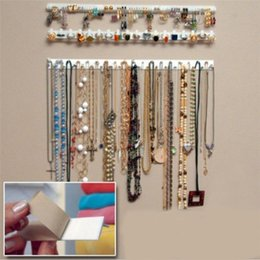 Wholesale Folding Display Racks - Adhesive Jewelry Display Hanging Earring Necklace Ring Hanger Holder Packaging Organizer Rack Sticky Hooks P17