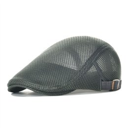 Wholesale Gatsby Hat Cotton - Summer Mesh Flat Cap Men Women Gray Casual Beret Light Ivy Caps Cabbie Newsboy Gatsby Hat Adjustable Breathable Boina 124