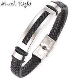 Wholesale Metal Wristbands For Men - whole saleMatch-Right Men's Leather Bracelets Metal Bracelet Cuff for Men Stainless Steel Bracelets Rectangle Bangle Men's Wristband BR009
