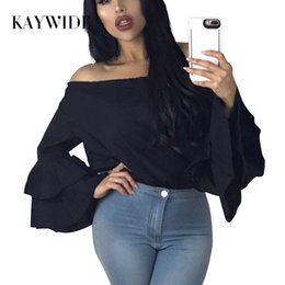 Wholesale White Ruffled Blouses For Women - KAYWIDE 2017 Spring Women Blouse Series Summer Off Shoulder Tops Butterfly Sleeve Solid Chiffon Blouse Shirt For Women A17209 q171120