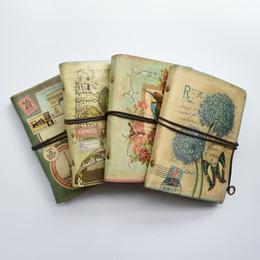 Carpetas de libros online-Cuaderno de espiral de cuero retro Diario de viaje Diario Libro Cuaderno de anillas de regalo Cuaderno de papel en blanco Oficina de papel Kraft Material escolar