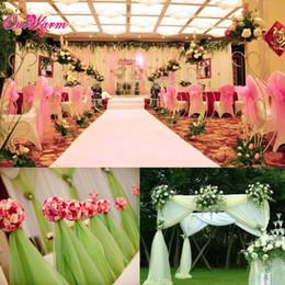 tul organza para decoraciones de boda Rebajas NUEVO diseño del banquete de boda de tul Decoración Material de organza Tela transparente de los Swags Sillas Mariage 10 * 1 .5m