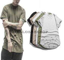 Deutschland Mode Neue Verlängerte Einfarbig T Kanye High Streetwear Kurzarm Persönlichkeit Loch Design Rundhals T-shirts für Männer Vintage cheap new t shirt design color men Versorgung