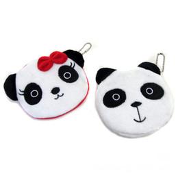 Бумажные кошельки онлайн-Hot Sale Kawaii Cartoon Panda Children Plush Coin Bag Purse Zip Change Purse Wallet Kids For Gift