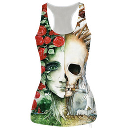 Wholesale Cat Crop Top - Wholesale- Alisister New Fashion Rose Flowers Skull Cropped Feminino Funny Printed 3d Bustier Crop Top Cats tiger Tee Tops Clothing