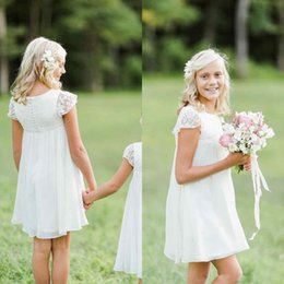 Wholesale Pictures Christmas - Chiffon Country Flower Girl Dresses For Wedding With Lace Top A-Line Short Sleeves Mini Jewel Neck Girls Pageant First Communion Dresses