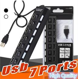 porta mozzi compatte del usb Sconti USB HUB a 7 porte con interruttore indipendente HUB Multi LED USB 2.0 ad alta velocità 480 Mbps On Off Switch Splitter USB portatile DHL