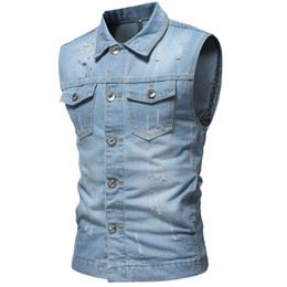 2019 классический темно-синий костюм Vintage Washed Solid Denim Vests For Mens Slim Fit Mans Suit Vest Male Waistcoat Casual Gilet Homme Sleeveless Jeans Jackets