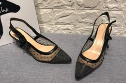 Marque de mode féminine élégante maille noire chaussures Bowtie pointu orteils chaussures polka dot talons bas pour les filles taille 34-40 livraison gratuite ? partir de fabricateur