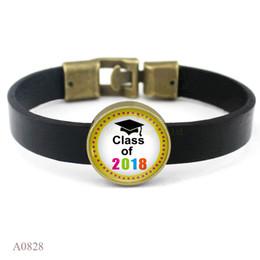 Wholesale Bracelets Pictures - whole sale(10PCS lot)Class Of 2018 Charm Black Leather Cuff Bracelets Glass Cabochon Class Of 2018 Picture Friendship Women Men Girl Gift
