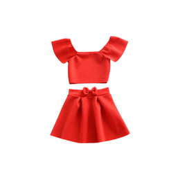 Wholesale kids brand tshirt - Kids Clothing Set Off Shoulder Red Top Summer Baby Clothes for Girls Outfits Toddler Fashion Tshirt Bow Skirt New