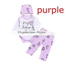 "Wholesale zebra love - Valentine's day INS ""My love belongs to dad"" kids rompers 3pcs suit Newborn Baby Girl Love Heart full print Romper + letter Pants + hat"