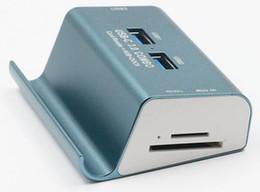 2019 порты linux Высокая скорость USB 3.0 адаптер концентратор Micro SD TF кард-ридер 5 в 1 сплава смартфон стенд держатель кронштейн рабочего стола