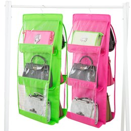 Wholesale handbag closet storage - 6 Pockets Hanging Storage Bag Purse Handbag Creative Design Tote Bag Storage Organizer Closet Rack Hangers Hot Sale 8xz Z