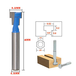 "Wholesale Blue Hex - Cocosoly Blue 1 4"" Shank T-Slot Cutter Router Bit for 1 4*3 8 Hex Bolt"