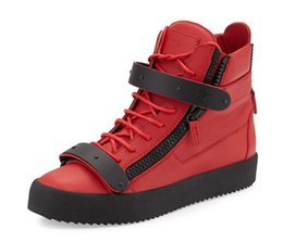 Wholesale Metal Free Shoes - High quality free shipping Giusepp zanotty men women shoe,red high metal buckle casual shoes,non-slip thickness bottom sneakers