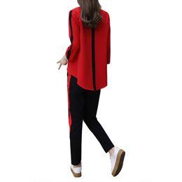 Discount wear striped shirts - 2018 Summer Women Sets Two Piece Causal chiffon Wear Red Three Quarter Sweet V-neck Shirt + Ankle-length Pants Women Sets