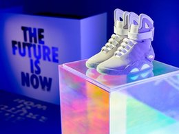 Wholesale sneakers knee - Air Mag Back Future High Top Marty McFly Colorful LED Shoes Basketball ShoeMen Luxury Grey Black Red Limited Edition Sneakers Boots With Box