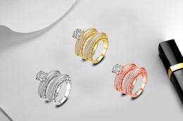 nachahmungsschmuck klingelt Rabatt Neuer Mosaik-Zirkon-Ring, Silber mit weißem K, Roségold plattiert, Fashion Silver Jewellery Rings Wholesale
