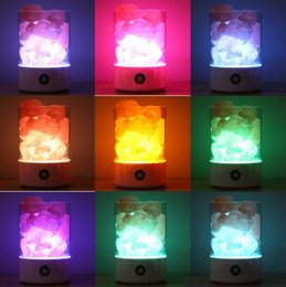 2019 lámparas de sal del himalaya Lámpara de sal USB Diseño portátil Colorido cambiante Luz de cristal Interruptor táctil natural del Himalaya Brillo Luz de noche ajustable del dormitorio lámparas de sal del himalaya baratos