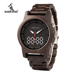 Часы j онлайн-Бобо птица мужчины часы LED двойной дисплей часы дерево цифровые наручные часы деревянная группа Relogio Masculino J-R02