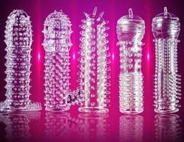 Canada Ensemble de spike sexy transparent Retard manches de pénis Ensemble de cristal Teaser jouets Produits de sexe adulte Silicone Offre