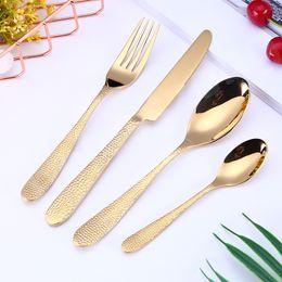 garfo de faca de sobremesa conjunto Desconto 4Piece / set Elegante talheres Set 5 cores Louça talheres de aço inoxidável utensílios da cozinha Louça, Faca, Garfo Colher colher de sobremesa