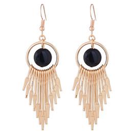 Semplici orecchini a goccia lunghi online-2018 Statement Simple Desgin Earrings Gold Silver Color For Women Orecchini pendenti Orecchini lunghi gioielli di moda