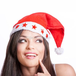 Partido easter on-line-Não Tecido De Cinco Estrelas Vermelho Chapéu de Natal Cap Luz Papai Noel Páscoa Noite Chapéu Do Partido Adulto Tamanho Santa Xmas
