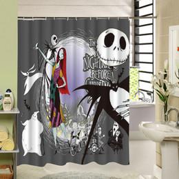 stile della tenda di natale Sconti Impermeabile Halloween Shower Curtain Nightmare Before Christmas Ghost Skeleton Castle Style 3D Bath Tende Accessori bagno
