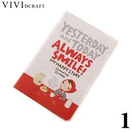 Cadernos bonitos da menina on-line-Vividcraft 1 PC Material Escolar Bonito Notebook Red Hat Girl Agenda Agenda Plano Diário Dia Planejador Diário Registro Papelaria