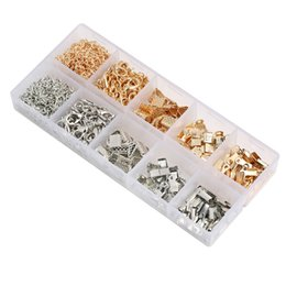 Wholesale Hook Kits - Lobster Clasp Open Jump Ring Ribbon Bracelet Kit Bookmark Pinch Crimp Clamp Ends For DIY Jewelry Making 2 Color G185L