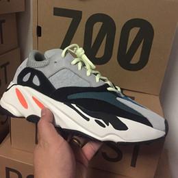 Wholesale mesh bottom - Wave Runner 700 Kanye west Running shoes Solid Grey White Orange OG B75571 Men Women Running Shoes With Bottom and 3M Mater