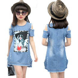 Wholesale Strapless Ball Gown Patterns - Children Dresses For Girls Denim Dress Summer Strapless Dress Pattern Girls Clothing Short Sleeve Child Clothes Denim T-Shirts