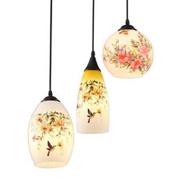 Wholesale chinese style pendant lights - Modern Glass Case Pendant Light Chinese Style Printing Restaurant Pendant Lamps Bar Counter Pendant Lighting Fixtures