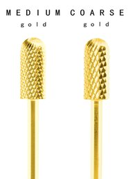 Wholesale carbide nail drill - CARBIDE Nail Bits-2pcs(C&M C&F M&F) Grinding Drill Bits Nail Art Gel Polish Electric Manicure Machine Accessor,5.35mm,Rounded Top,Gold,3 32