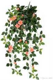 2019 planta de rosa verde Simulación Artificial Colgar Cestas Flor Falso Rose Vines Wedding Party Supplies Colgante de Pared Plantas Verdes Balcón Decoración 10 35 mh ii planta de rosa verde baratos