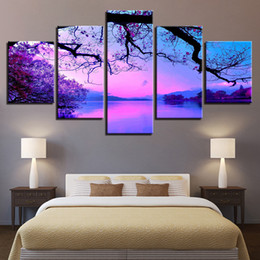Wholesale Lake Landscapes Paintings - Canvas Wall Art Paintings Living Room Home Decor Framework 5 Pieces Purple Sunset Trees Lake Landscape Pictures HD Prints Poster